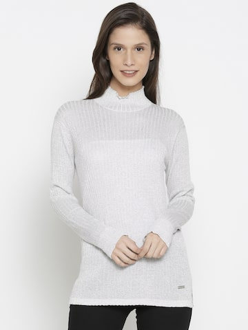 Pepe Jeans Women Silver-Toned Striped Pullover Sweater Pepe Jeans Sweaters at myntra