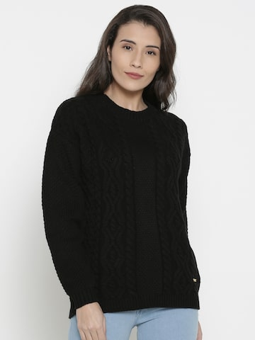 Pepe Jeans Women Black Solid Pullover Pepe Jeans Sweaters at myntra