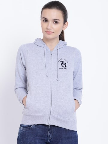 Pepe Jeans Women Grey Melange Solid Hooded Sweatshirt Pepe Jeans Sweatshirts at myntra