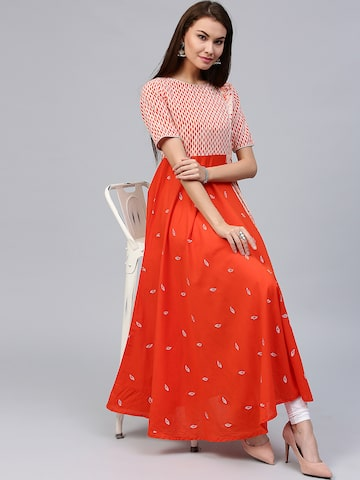 Jaipur Kurti Women Orange Printed Anarkali Kurta Jaipur Kurti Kurtas at myntra