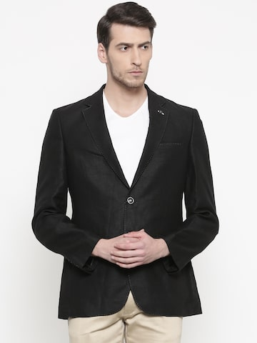 Raymond Black Linen Solid Contemporary Fit Casual Blazer Raymond Blazers at myntra