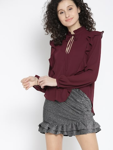 MANGO Women Burgundy Solid Top with Ruffles MANGO Tops at myntra
