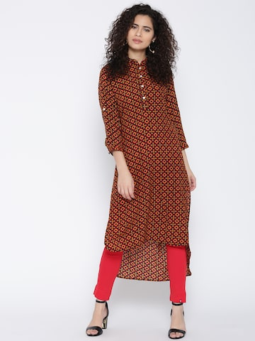 Jashn Women Black & Yellow Printed Straight Kurta Jashn Kurtas at myntra