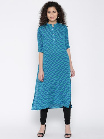 Jashn Women Blue & Green Printed Crepe Straight Kurta Jashn Kurtas at myntra