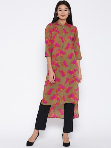 Jashn Women Olive Green & Pink Printed High-Low Straight Kurta Jashn Kurtas at myntra