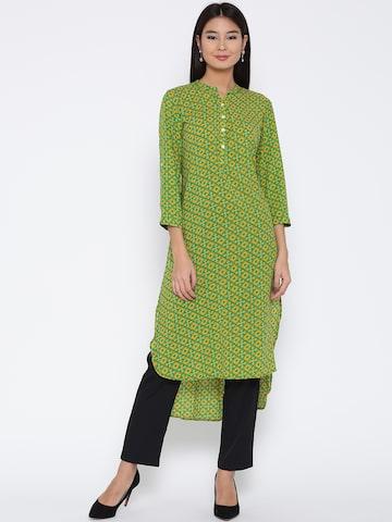 Jashn Women Green & Yellow Printed Straight Kurta Jashn Kurtas at myntra
