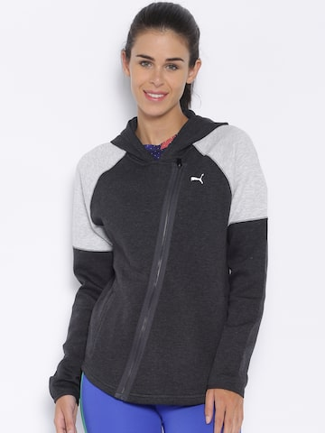 Puma Grey Yogini Solid Hooded Jacket Puma Jackets at myntra