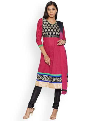 Florence Pink & Black Polyester Unstitched Dress Material Florence Dress Material at myntra
