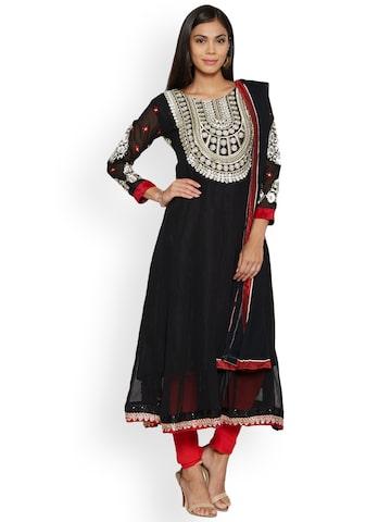 Florence Black Poly Chiffon Unstitched Dress Material Florence Dress Material at myntra