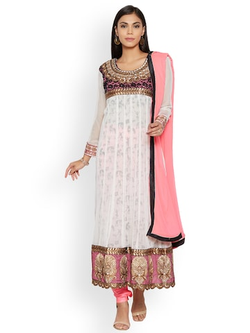 Florence White & Pink Poly Georgette Unstitched Dress Material Florence Dress Material at myntra