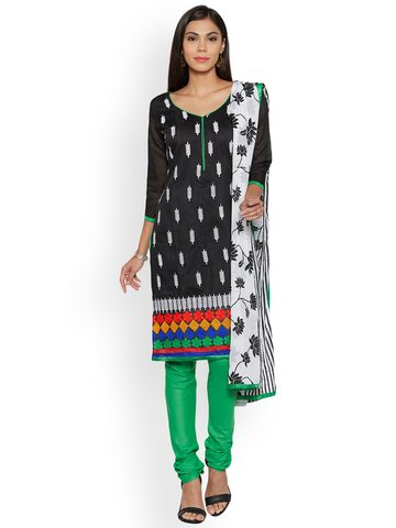 Florence Black Pure Cotton Unstitched Dress Material Florence Dress Material at myntra