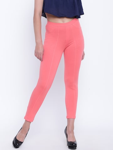 People Women Peach-Coloured Cropped Treggings People Jeggings at myntra