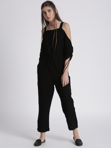 Chemistry Black Solid Basic Jumpsuit Chemistry Jumpsuit at myntra