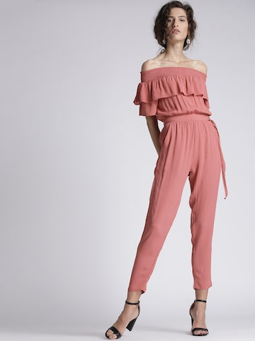 Chemistry Dusty Pink Solid Off-Shoulder Jumpsuit Chemistry Jumpsuit at myntra