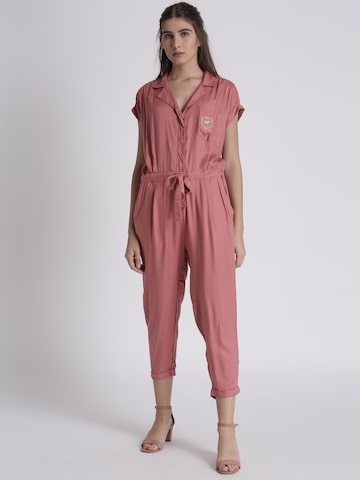 Chemistry Peach-Coloured Solid Basic Jumpsuit Chemistry Jumpsuit at myntra