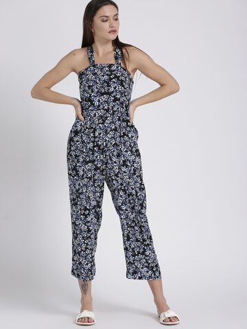 Chemistry Blue & Off-White Printed Basic Jumpsuit Chemistry Jumpsuit at myntra