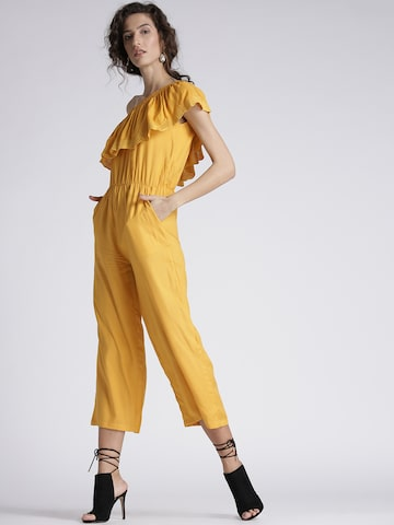 Chemistry Yellow Solid One-Shoulder Cropped Jumpsuit Chemistry Jumpsuit at myntra