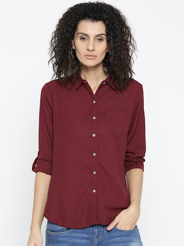 Style Quotient Women Maroon Solid Casual Shirt Style Quotient Shirts at myntra