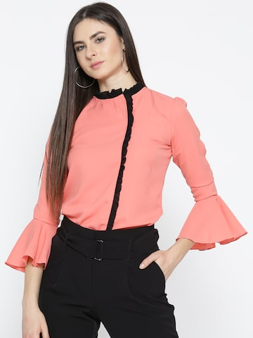 Style Quotient Women Coral Pink Solid Shirt Style Top Style Quotient Tops at myntra