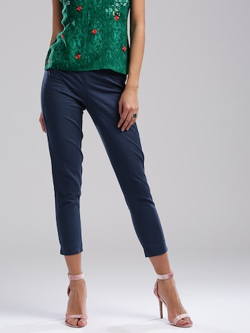 W Women Navy Blue Cropped Trousers W Trousers at myntra