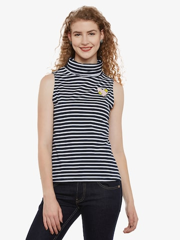 Miss Chase Women Navy Blue Striped Top Miss Chase Tops at myntra