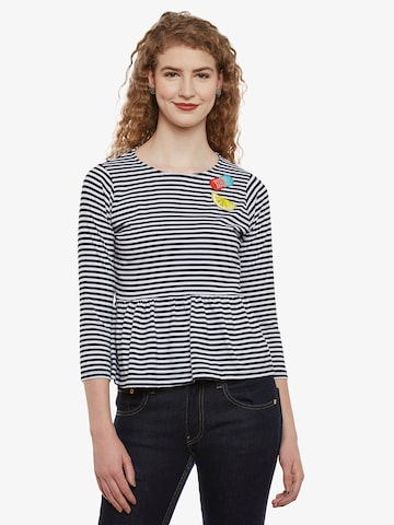 Miss Chase Women Black Striped Peplum Top Miss Chase Tops at myntra