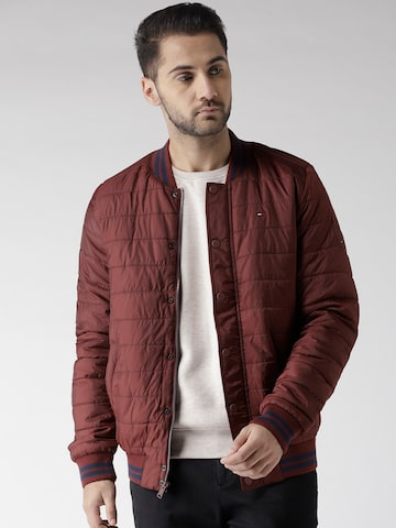Tommy Hilfiger Men Burgundy Solid Varsity Jacket Tommy Hilfiger Jackets at myntra