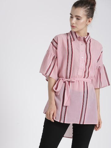 Chemistry Women Pink Striped High-Low Top Chemistry Tops at myntra