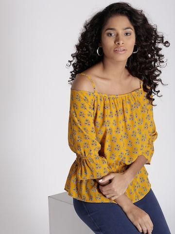 Chemistry Women Mustard Yellow Floral Print Bardot Top Chemistry Tops at myntra