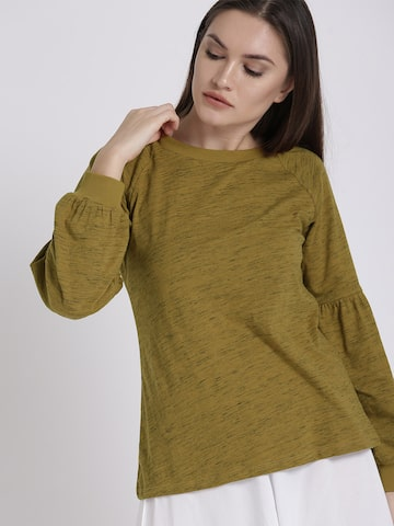 Chemistry Women Mustard Yellow Solid Top Chemistry Tops at myntra