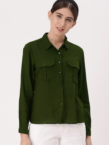 DressBerry Women Olive Green Regular Fit Solid Casual Shirt DressBerry Shirts at myntra