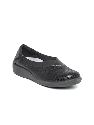 Clarks Women Black Textured Slip-Ons Clarks Casual Shoes at myntra