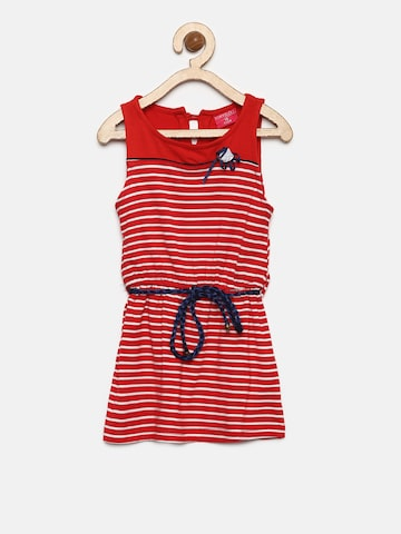 Tiny Girl Red & White Striped Fit and Flare Dress Tiny Girl Dresses at myntra