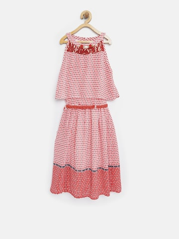 Tiny Girl Red Printed Layered Fit & Flare Dress Tiny Girl Dresses at myntra