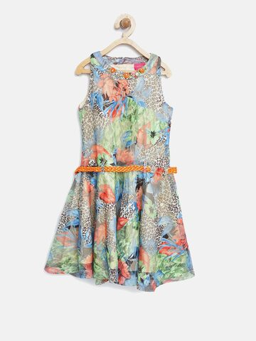 Tiny Girl Multicoloured Printed Net Fit & Flare Dress Tiny Girl Dresses at myntra