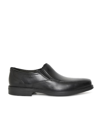 Clarks Men Black Leather Bolton Free Formal Slip-Ons Clarks Formal Shoes at myntra