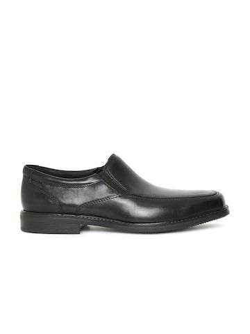 Clarks Men Black Leather Mendon Easy Formal Slip-Ons Clarks Formal Shoes at myntra