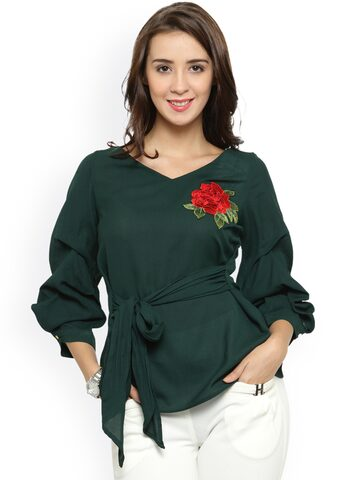 plusS Women Green Solid Top plusS Tops at myntra