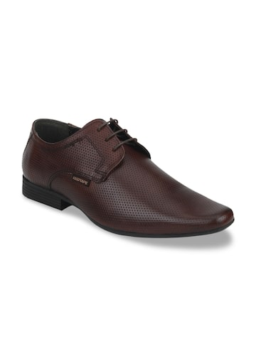 Red Tape Men Brown Textured Leather Derbys Red Tape Formal Shoes at myntra
