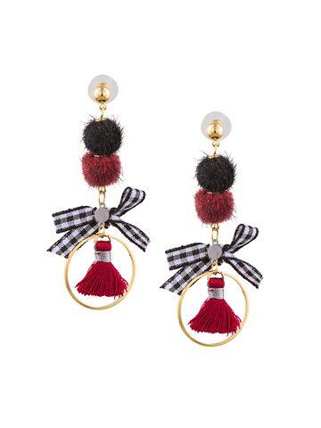 Sia Art Jewellery Gold-Toned & Multicoloured Circular Hoop Earrings Sia Art Jewellery Earrings at myntra