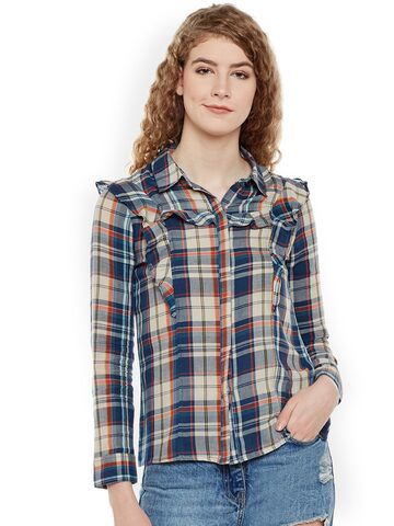 Oxolloxo Women Multicoloured Comfort Regular Fit Checked Casual Shirt Oxolloxo Shirts at myntra