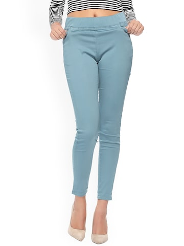 Xblues Blue Skinny Fit Jeggings Xblues Jeggings at myntra