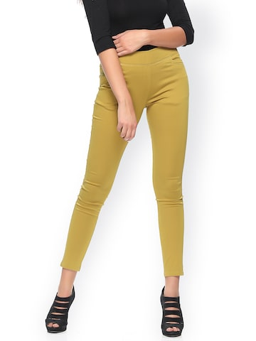 Xblues Mustard Coloured Skinny Fit Jeggings Xblues Jeggings at myntra