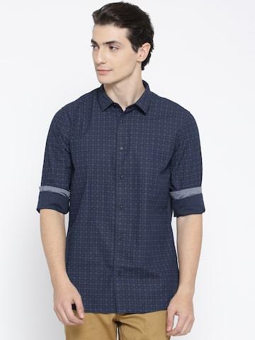 Blackberrys Men Navy Blue Slim Fit Self-Design Casual Shirt Blackberrys Shirts at myntra