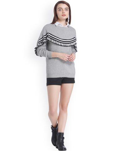 Vero Moda Women Grey Striped Pullover Vero Moda Sweaters at myntra