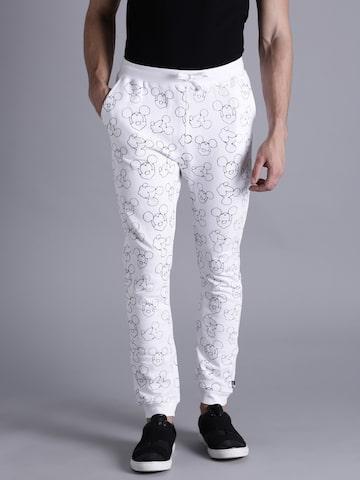 Kook N Keech Disney Men White & Black Printed Jogger Trackpants Kook N Keech Disney Track Pants at myntra
