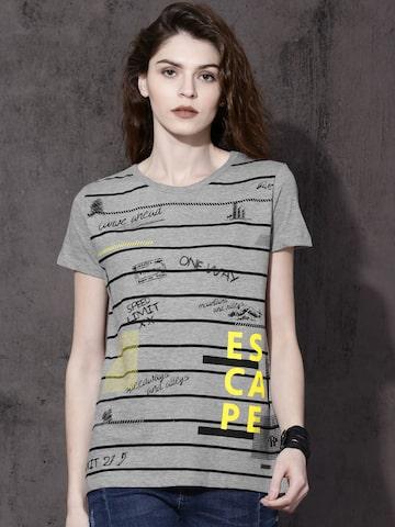 Roadster Women Grey Melange Printed Round Neck T-shirt Roadster Tshirts at myntra