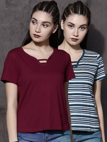Roadster Pack of 2 T-shirts Roadster Tshirts at myntra