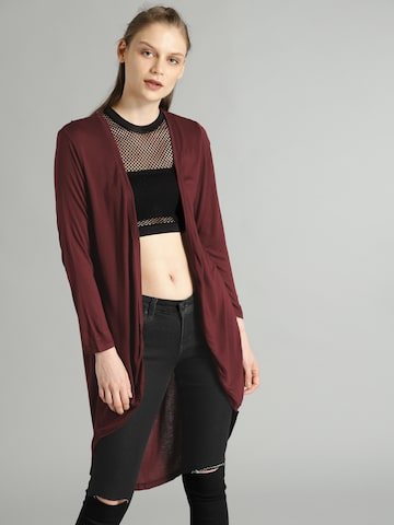 Roadster Maroon Solid Open Front Shrug Roadster Shrug at myntra