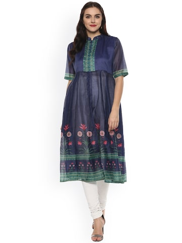 Bhama Couture Women Blue Printed Anarkali Kurta Bhama Couture Kurtas at myntra